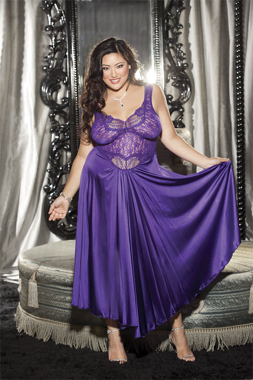 Heavenly Stretch Lace And Supple Tricot Long Gown X3585